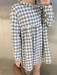 assinar boneca coreano vestido xadrez gola