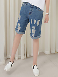 Spot real shot hole jeans straight jeans shorts five pants cuffs female beggar pants loose pants