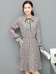 Sign 2017 new women's long-sleeved dress was thin waist and long sections a floral dress