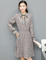 assinar 2017 novas mulheres&# 39; s vestido de mangas compridas foi cintura fina e longas seções um vestido floral