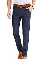 Homme simple Taille Normale Micro-élastique Chino Pantalon,Mince Couleur Pleine
