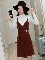 Sign harness dress suit Korean version of the new gold velvet long-sleeved knit shirt v-neck strap dress two-piece