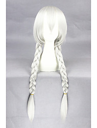 New Anime 32inch Long Straight Silver White Judy Rabbit Synthetic Anime Cosplay Wig CS-278A