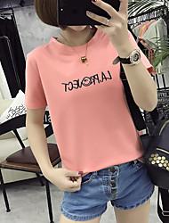 знак 2017 лето новые корейские тонкие рубашки простые письма напечатаны шелк молока женщина