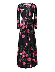 Women's Going out Sheath Dress,Floral Round Neck Maxi Long Sleeve Polyester Spring Mid Rise Inelastic Medium