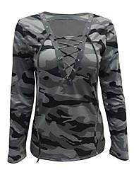 Damen camuflaje Sexy Einfach Lässig/Alltäglich T-shirt,Tiefes V Alle Saisons Langarm Baumwolle Dünn