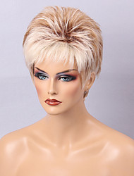 Diy-Wig Short Mixed Color Hair  Natural  Fluffy Human Hair Capless Wigs For Women