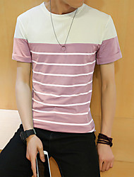 New men's striped short-sleeved T-shirt yellow room 95% Cotton, 5% Spandex