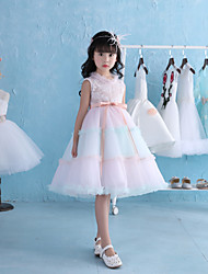 A-line Knee-length Flower Girl Dress - Lace Tulle Satin Chiffon Sleeveless Jewel with Ruffles Sash / Ribbon