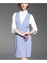 Women's Formal Vintage Sheath Dress,Solid V Neck Maxi ¾ Sleeve Silk All Seasons High Rise Micro-elastic Medium