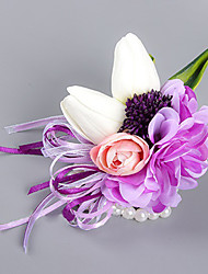 Wedding Flowers Free-form Roses Lilies Peonies Wrist Corsages Wedding Party/ Evening Purple Satin