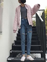 Новый реальный снимок был тонким свободным модным корейским нищим отверстием джинсы брюки женские ножки девять очков брюки