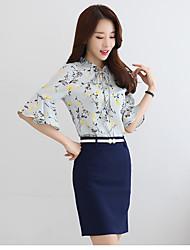 Damen Solide Niedlich Arbeit T-shirt,Rundhalsausschnitt Langarm Polyester