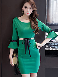 Women's Going out Casual/Daily Formal Simple Bodycon Sheath Dress,Solid Round Neck Above Knee ¾ Sleeve Cotton Spring Summer High Rise