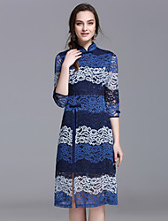 YHSPWomen's Going out Formal Holiday Vintage Chinoiserie A Line Sheath Lace DressColor Block Stand Midi  Sleeve Polyester Spring SummerMid