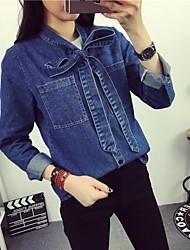nuovo arco camicia di jeans 2016 molla di nuovo a maniche lunghe casuale marea femminile