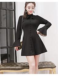 Francês retro elegância vestido saia tipo super bom voando corpo reparação trompete mangas pouco vestido preto