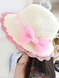 Girl's Lovely Fashionable Fashion and elegant big bud silk yarn bowknot sunshade hat (Bowknot is color random)