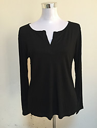 * Autumn and winter dark gray v-neck long-sleeved sweater thread T-shirt female models