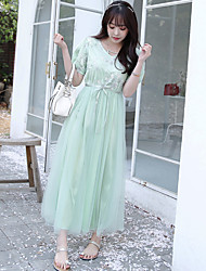 знак 2016 лето новые дамы одевают марлевые вышивка v-образный вырез талии платье корейское платье