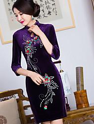 Trapèze Robe Femme Sortie Sexy Chinoiserie,Géométrique Col Arrondi Mini ½ Manches Rayonne Eté Taille Haute Non Elastique Fin