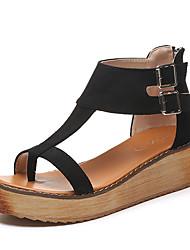 Women's Sandals Spring Summer Gladiator T-Strap Light Soles Leatherette Outdoor Dress Casual Low Heel Platform Buckle