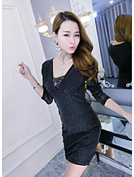The new nightclub perspective gauze low-cut V-neck sexy temperament Slim package hip long-sleeved dress