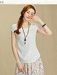 Damen Solide Einfach Ausgehen T-shirt,Rundhalsausschnitt Sommer Kurzarm Baumwolle Dünn