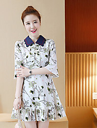 2017 spring and summer female lotus leaf horn sleeve dress embroidered floral print dress doll collar tide