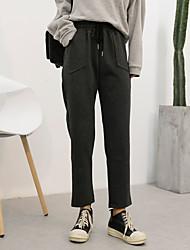 2017 весна корейский свободные эластичный пояс шнурка случайные тонкие колготки женские брюки гарем реальный выстрел