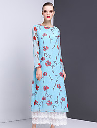 Women's Casual/Daily Sophisticated Shift Dress,Floral Round Neck Maxi Long Sleeve Polyester Spring Summer Mid Rise Inelastic Medium