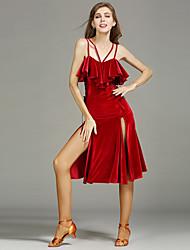 Latin Dance Dresses Women's Performance Silk Milk Fiber Draped Split Front 1 Piece Sleeveless Natural Dress