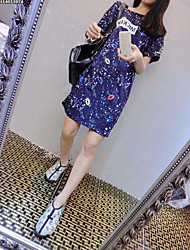 Korean version of the new summer influx of women long section of loose big yards short sleeve t-shirt dress shirt