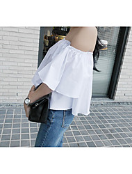 Coreano moda popular grande chifre manga camisa colar sem alças de manga curta camisa feminina