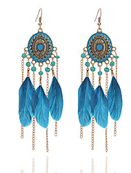 4 Colors 2017 Summer Fashion Bohemia Bead Tassel Earring Feather Pendant Earrings For Women Long Chain Earring Jewery Wholesale