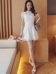 Model real shot summer 2017 Korean temperament petal sleeve lace cheongsam dress Slim ladies short sleeve