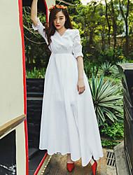 été robe bohème plage grande jupe robe jacquard robe blanche en coton pur