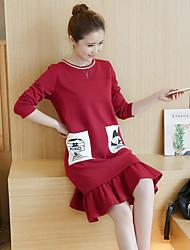 Sinal 2017 primavera mulheres coreano novo solto em torno do pescoço vestido de impressão e longas seções