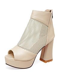 sapatos clube queda escritório tule pu botas de verão das mulheres&festa de carreira&noite zipper vestido