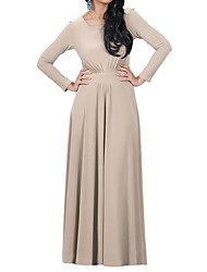 HOT! M-3XL Plus Size Women's Going out Casual/Daily Sexy Vintage Simple Sheath DressSolid Round Neck Maxi Long Sleeve Polyester Summer
