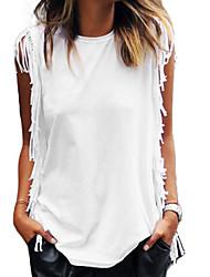 Damen Solide Retro Einfach Street Schick Ausgehen Strand Urlaub T-shirt,Rundhalsausschnitt Sommer Ärmellos Baumwolle Dünn