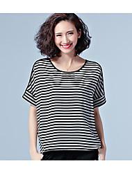 signe 2017 modèles de printemps épissage de fil net rayé gras occasionnels t-shirt à manches courtes mm grands chantiers t-shirt