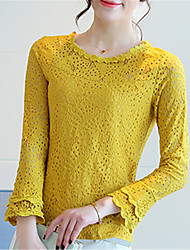 Women's Going out Casual/Daily Street chic Spring Summer Shirt,Solid Round Neck Long Sleeve Polyester Medium