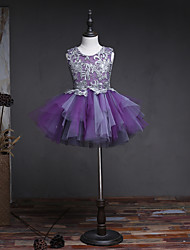 Ball Gown Knee Length Flower Girl Dress - Tulle Sleeveless Jewel Neck with Beading by HUA XI REN JIAO