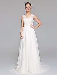 Sheath / Column Wedding Dress Beautiful Back Court Train V-neck Chiffon Lace with Appliques