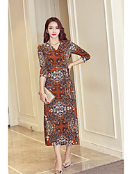 signe étoiles korean wrap dress imprimé floral robe taille v-cou plage longue robe
