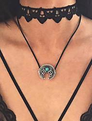 Femme Pendentif de collier Turquoise Chaîne unique Alliage Pendant Argent Bijoux PourMariage Soirée Occasion spéciale Halloween