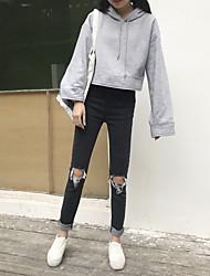 Nett Real Shot ~ korea rétro waist knee hole stretch mince jeans noir et dessin blanc