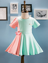 Girl's Going out Casual/Daily Solid Dress,Cotton Spring Fall Short Sleeve