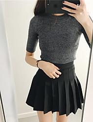 Spot real Schuss koreanischen halb Ärmel Strick T-Shirt hohen Kragen Boden T-Shirt schlank liangsi